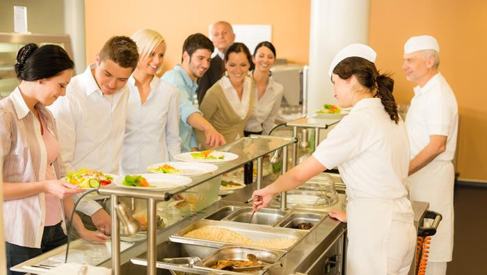 Mittagessen im Betriebsrestaurant